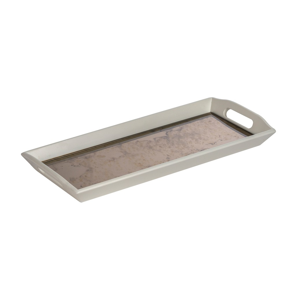 Thorne Wooden Tea Tray with Antique Bronze Mirrored Base