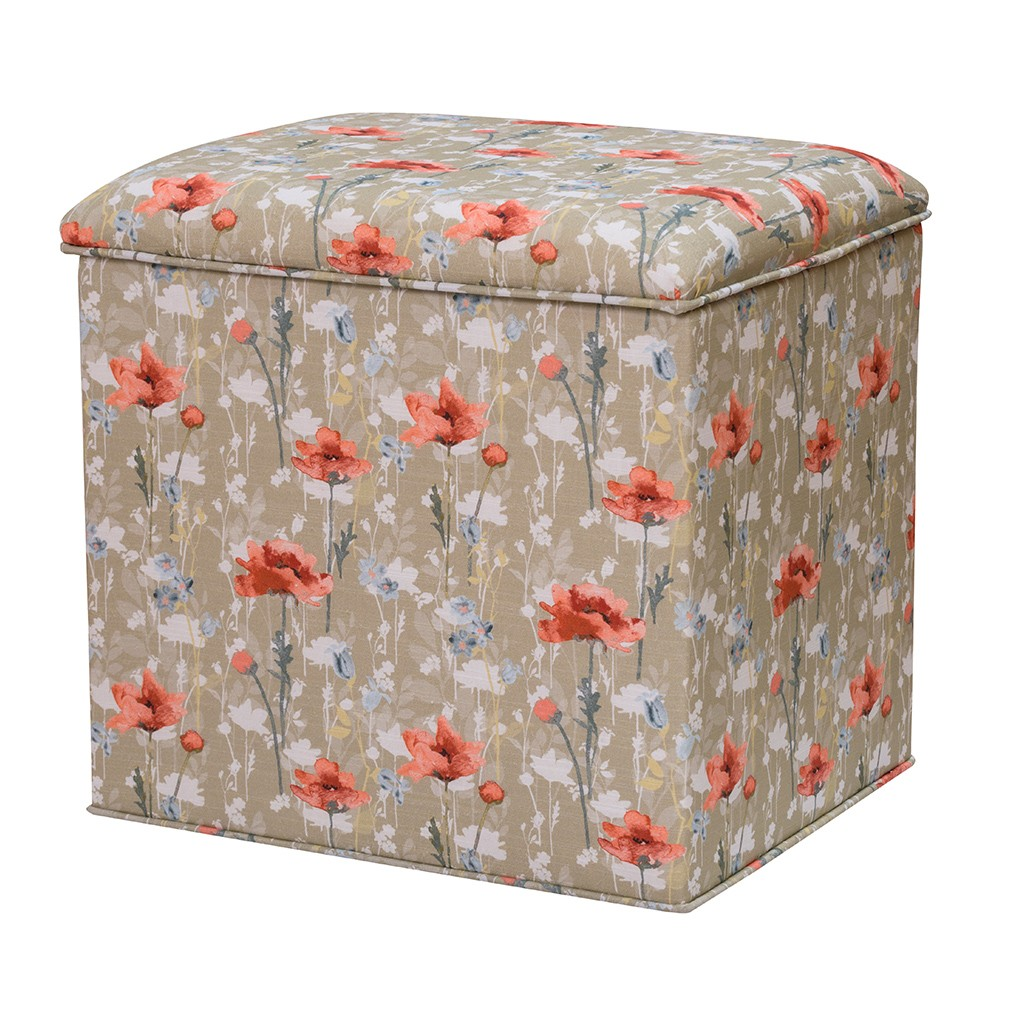 RSPB Poppies Upholstered Storage Ottoman - Grosvenor