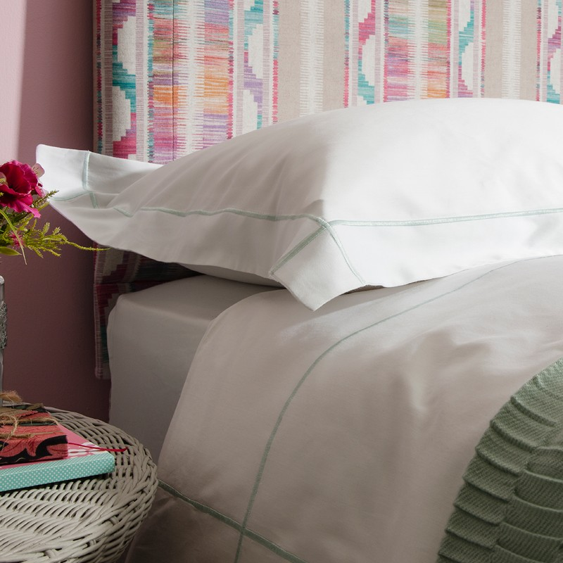 Hassocks White and Duck Egg Marrow Embroided Bedlinen Set