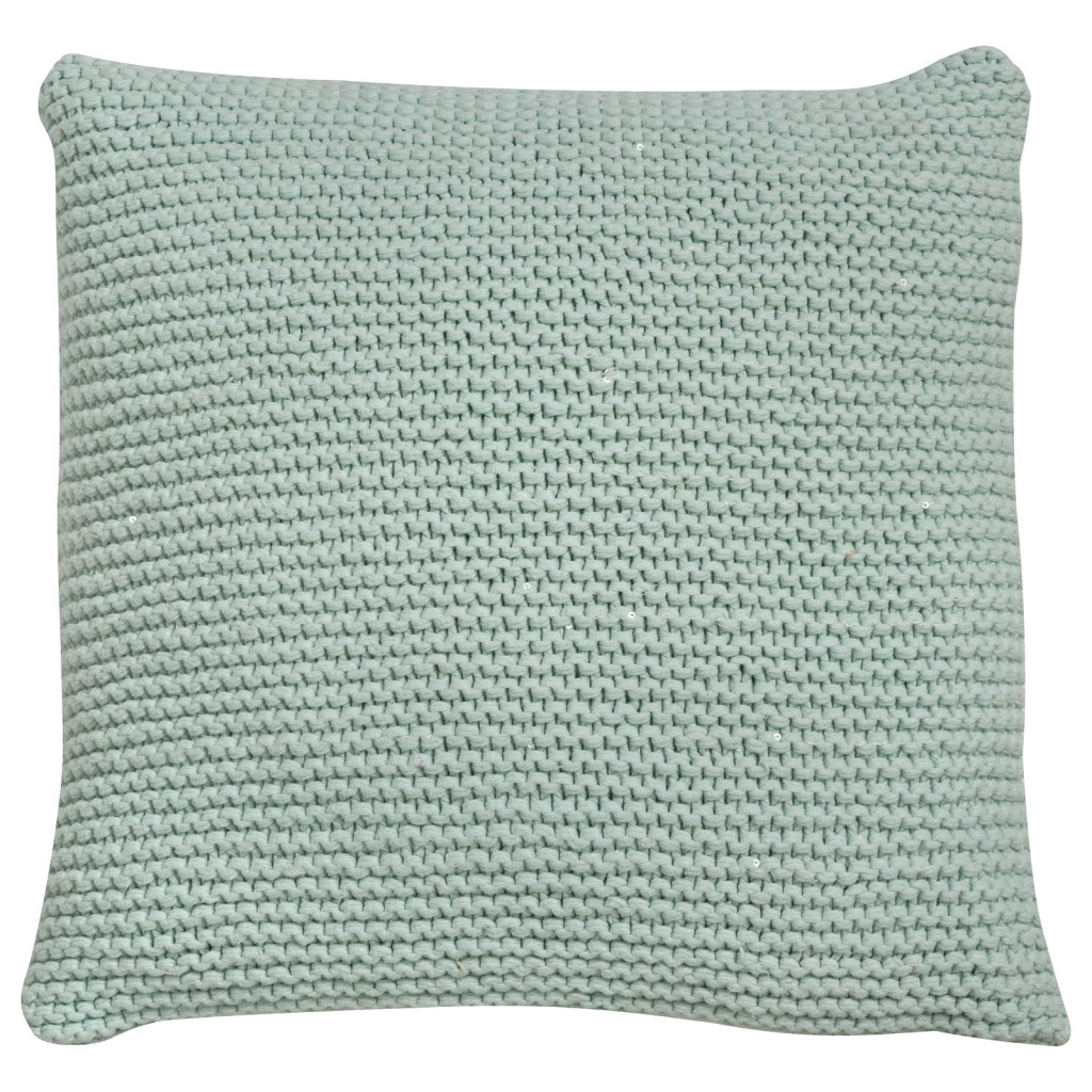 Oving Duck Egg Knitted Sequin Cushion
