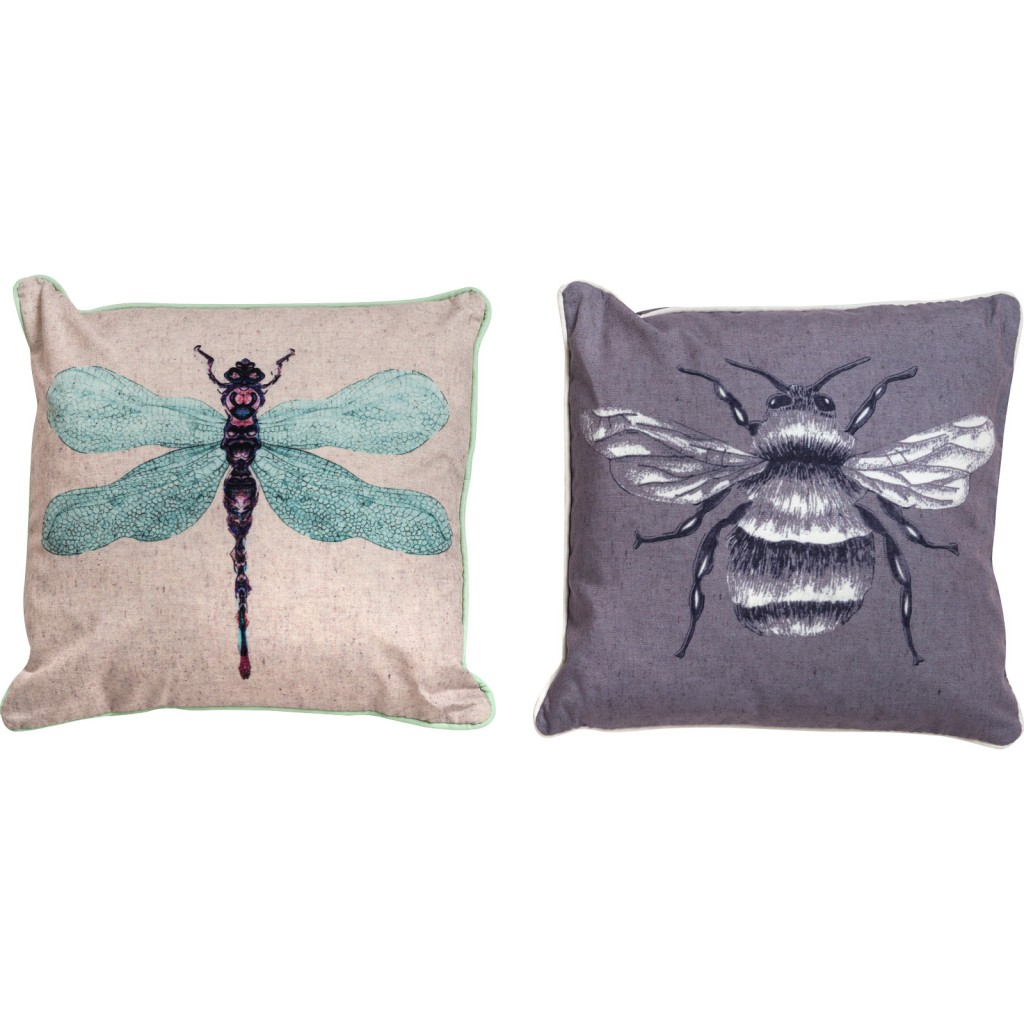 Bee & Dragonfly Print Cushion