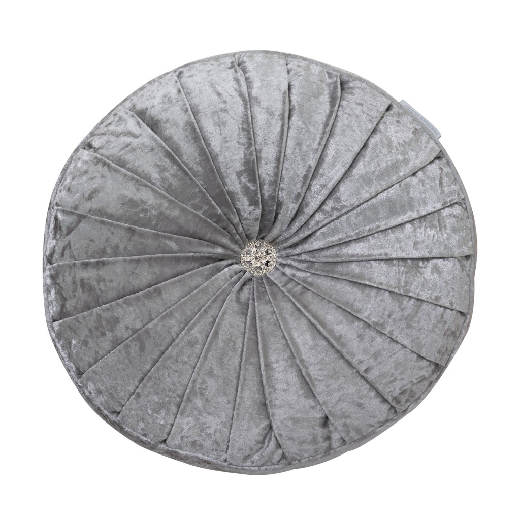 Lyminster Silver Round Velvet Cushion