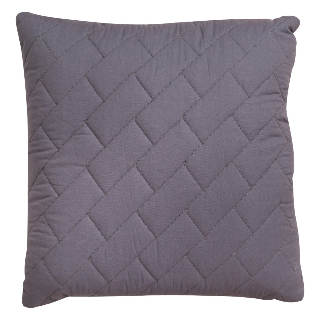Bramber Grey Block Quilted Cushion