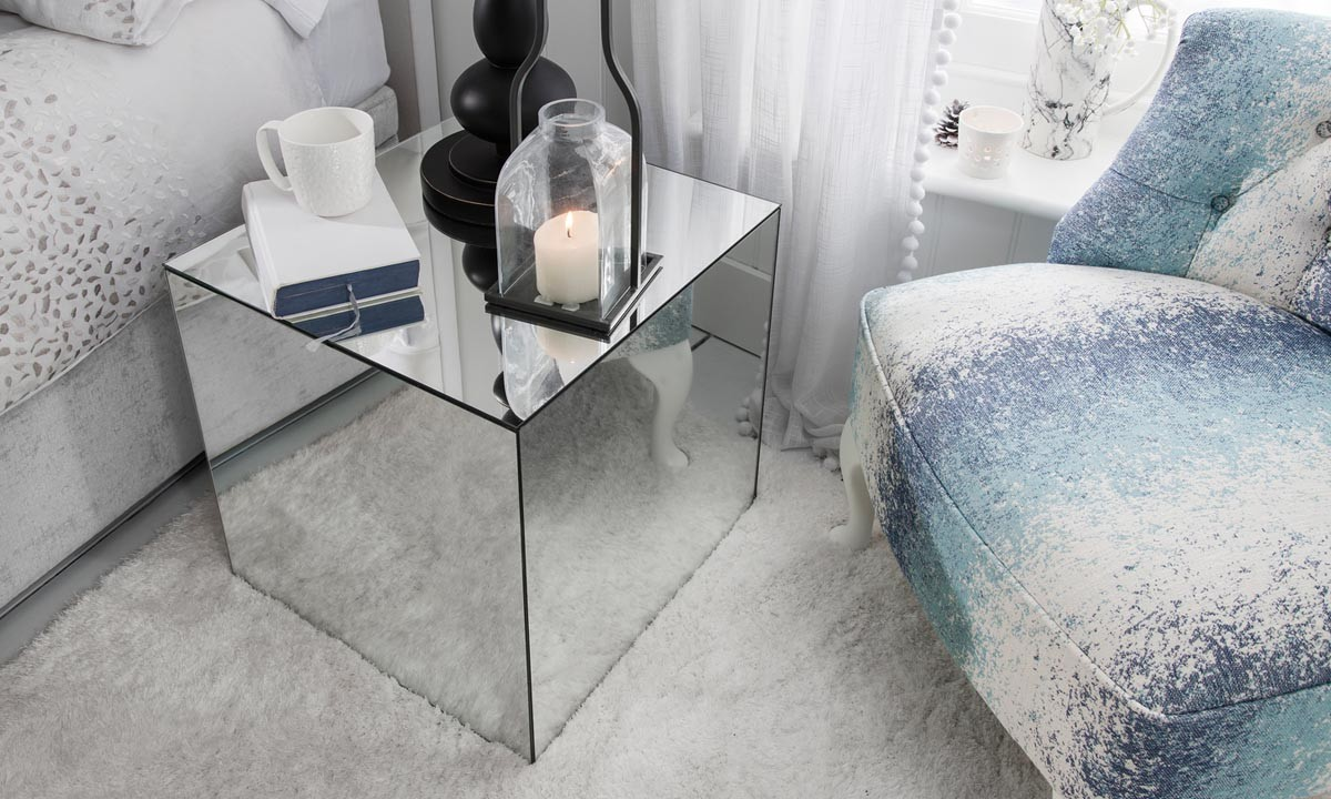 Holcombe Silver Mirrored Cube Bedside Table