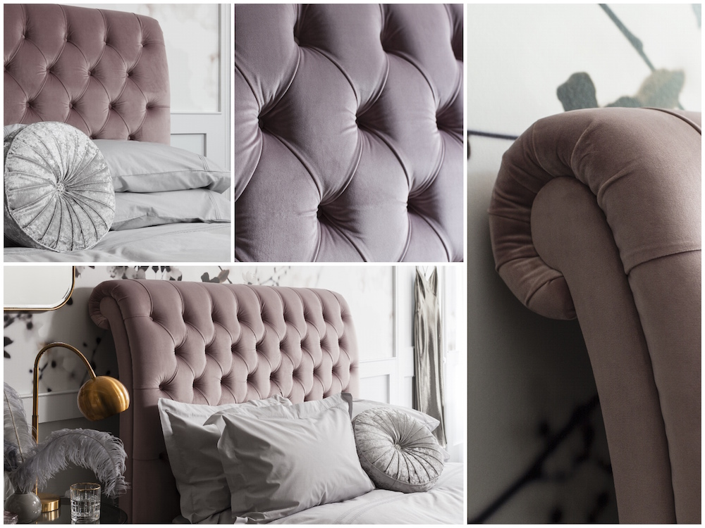 Romantic Pink and Grey Bedroom Room Set